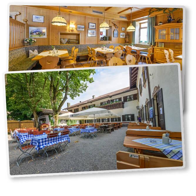Ferienhaus am Klosteranger Gasthof Herzogstand Doppelbild Biergarten Essenszimmer